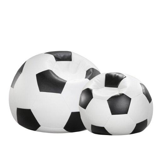 Cojín puf de fútbol negro-blanco de piel sintética 90 x 90 cm ...