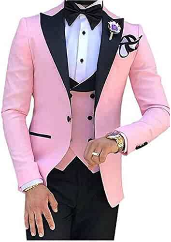 b630f44a6c1be9 Men's 3 PC Red Notch Lapel Wedding Suits Slim Fit Groom Tuxedos Prom Suits  Casual Suit