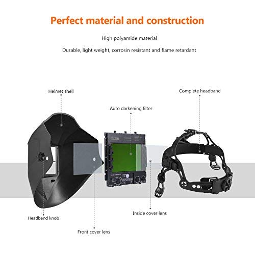 Pro Welding Helmet with Highest Optical Class (1/1/1/1), Larger Viewing Area(3.94x2.87), Wide Shade Range DIN 3/4-8/9-13, 6Pcs Replacement Lenses, Grinding Feature for TIG MIG MMA Plasma - PAH03D
