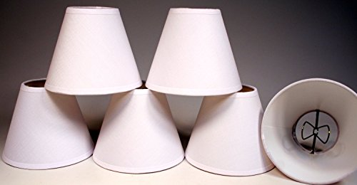 Creative Hobbies White Linen Fabric Candle Lamp & Chandelier Shades 4-Inch High x 5-Inch Diameter -Clip on Teardrop Bulbs (Pack of 6) (Fabric Chandelier Shade)