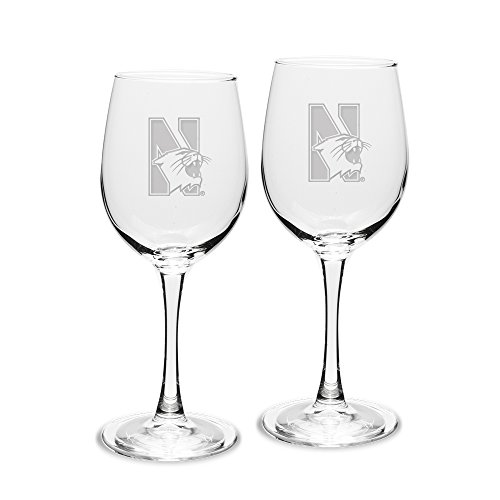 NCAA Northwestern Wildcats Adult Set of 2 - 12 oz White Wine Glasses Deep Etch Engraved, One Size, Clear