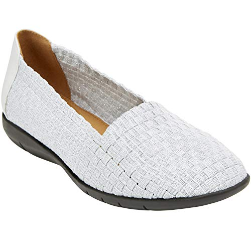 Comfortview Women's Plus Size The Bethany Flat - White, 9 WW (Best Shoes For Plus Size)