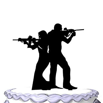 Rifle With Gun Bride And Groom Wedding Cake Topper Amazon
