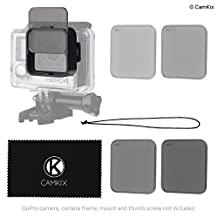 Cinematic Filter Pack for GoPro HERO 4 / 3+, Clicks on the Waterproof Housing, 4 Neutral Density Filters (ND2/ND4/ND8/ND16). Perfect for Aerial Footage made with the GoPro Karma and others Drones.