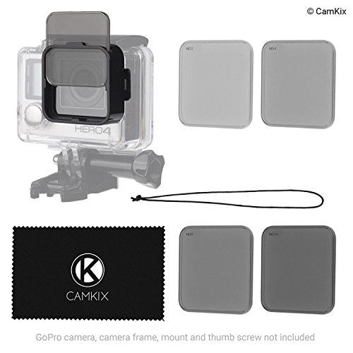 Cinematic Filter Pack for GoPro HERO 4 / 3+, Clicks on the Waterproof Housing, 4 Neutral Density Filters (ND2/ND4/ND8/ND16). Perfect for Aerial Footage made with the GoPro Karma and others Drones. - Camaras Go Pro Hero 3