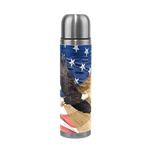 Stainless Thermos Eagles Steel (ALAZA Eagle American Flag Stainless Steel Water Bottle 17 Oz Double Wall Vacuum Insulated Thermos Flask Genuine Leather Wrapped Cover Keep Drinks Hot and Cold)