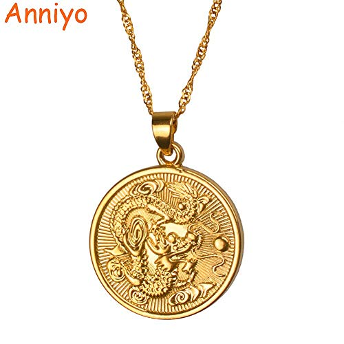 Pendant Necklace - Auspicious Dragon Pendant Thin Chain Gold Color Jewelry Mascot Ornaments Lucky Gifts #005825-45cm Thin Chain