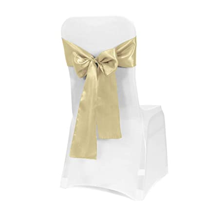 Obstal 50 Pcs Satin Chair Sashes Bows For Wedding Reception Universal Chair Cover Back Tie Supplies For Banquet Party Hotel Event Decorations