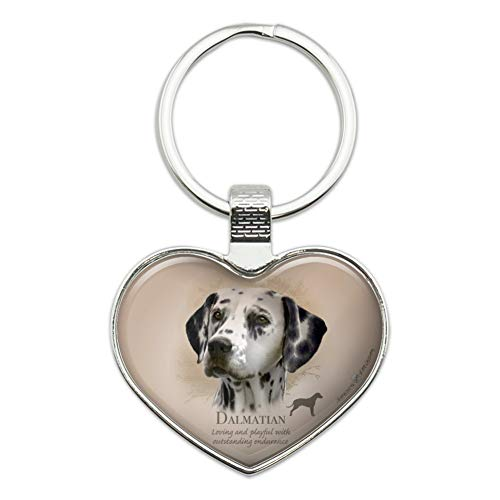 Dalmatian Keychain - Dalmatian Dog Breed Heart Love Metal Keychain Key Chain Ring