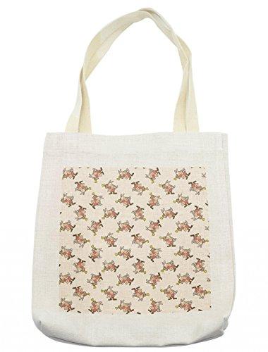 Lunarable Alice in Wonderland Tote Bag, Rabbit Playing