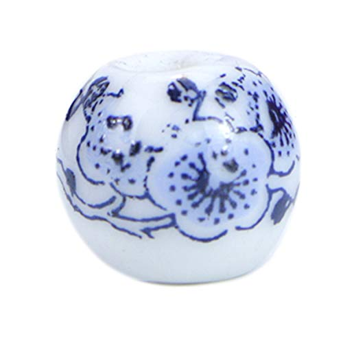 Monrocco 100 PCs Porcelain Ceramic Flower Beads Traditional Chinese Style Round Exquisite Ethnic Loose Beads (Blue) ()