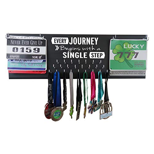 Running On The Wall Medal Hanger Display and Race Bibs Every Journey Begins with A Single Step Double Race Bib - Bib Double