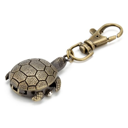 Keychain Watch Pocket Key Chain Ring Watches Antique Turtoise Turtle Vintage pendant (Keychain Pocket Watch)