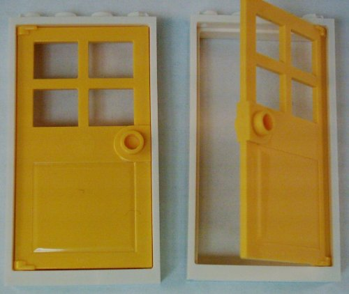 (Lego City Town 2 White Door Frame 1 x 4 x 6 + 2 Yellow Door 1 x 4 x 6 with 4 Panes and Stud Handle - Loose)