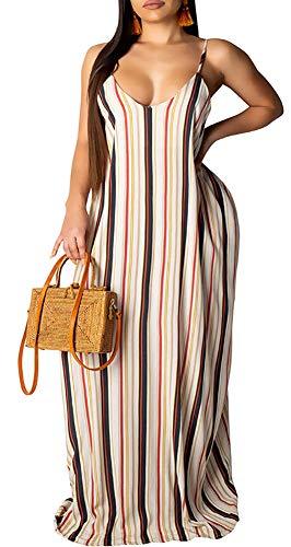 Voghtic Women Casual Spaghetti Strap Maxi Dress Floral Print Floor Length Long Dresses