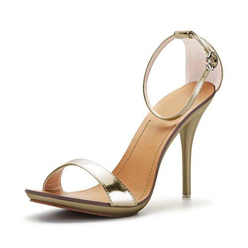 con Sandali Donna Stiletto Cinturino Estivi Chiusura per Oro Caviglia OCHENTA alla Fibbia d1tnqtS