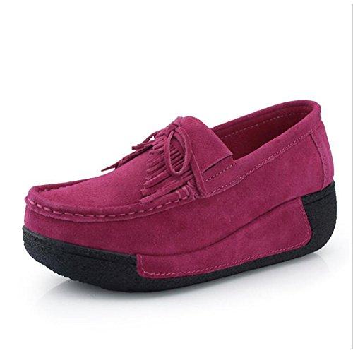 SAGUARO Women Platform Loafers Shape Up Walking Sneakers Suede Moccasins Rocker Sole Wedges Tassel -