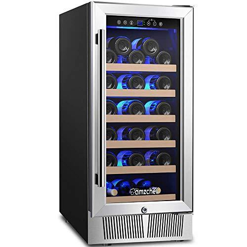 Wine Cooler, Built-in Wine Cooler, AMZCHEF 15'' Wine Refrigerator, 31 Bottle, Freestanding, Quiet, Constant Temperature & Energy ()
