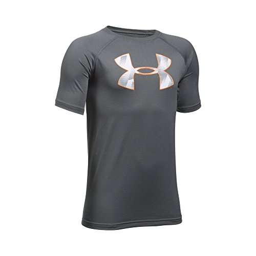 Under Armour Boys' Tech Big Logo Short Sleeve T-Shirt, Graphite/Overcast Gray, Youth Large