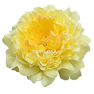 FANFLONA Wholesale Silk Flowers Artificial Peony Flower Heads 100 Bulk for Wedding Backdrop Centerpieces Cake Topper Decor (Yellow) 49
