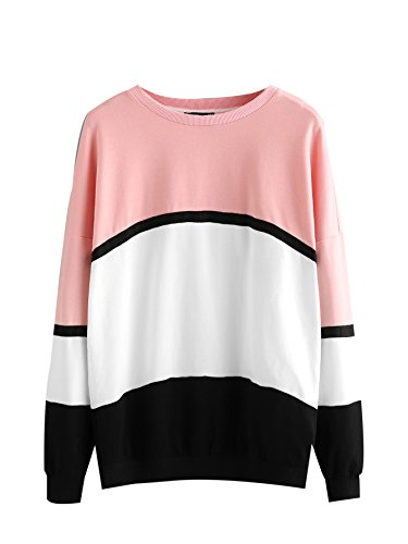 MakeMeChic Womens Color Block Drop Shoulder Crewneck Sweatshirt