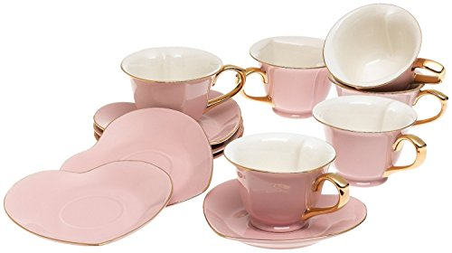 Inside Out Heart Cups & Saucers, Set of 6, Pink/Gold, 6.5 Oz. (Heart Plates Set)