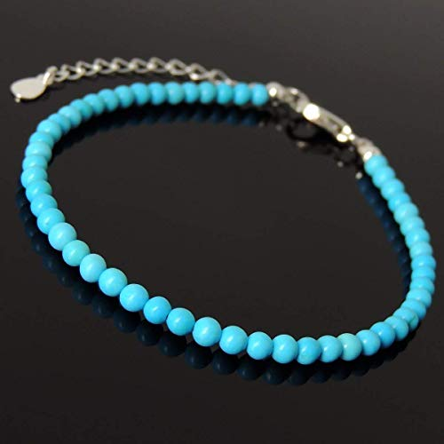 Blue Turquoise Gemstones 3mm Small Beads Handmade Chain Link Bracelet Chakra Meditation, Mindfulness, Men's Women's Casual Wear, Strength, Daily Comfort, Non-plated Sterling Silver Clasp