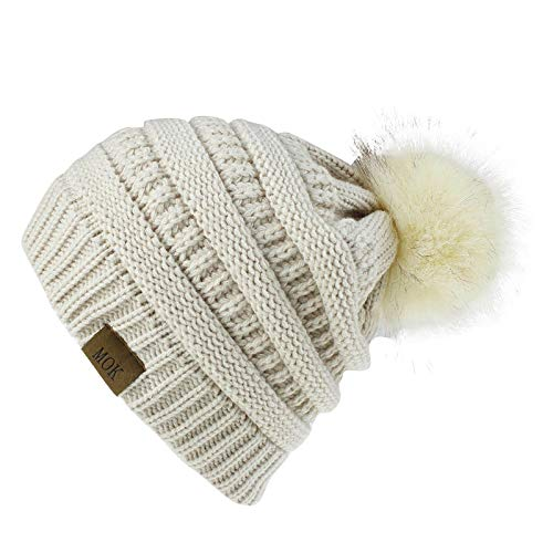 Clacce Winter Hats for Women,Beanie Knit Hat for Ladies Warm Knit Winter Hat Knitted Beanie with Detachable Faux Fur Bobble Pom