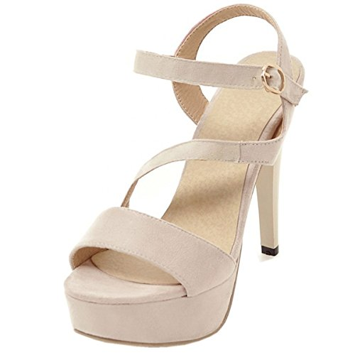 Heels Beige Rongzhi Sandals Pumps Party Platform Suede Womens Stilettos Dress Strap Shoes xwBwPE