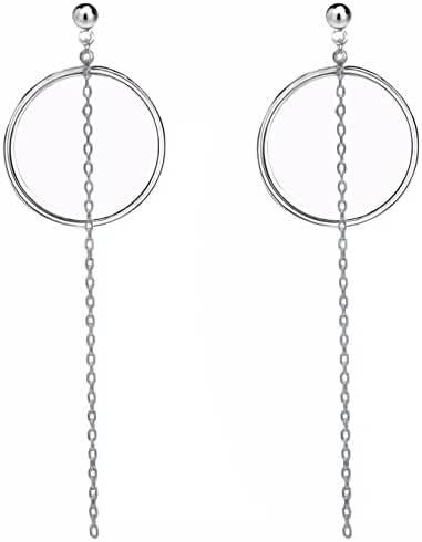 Sterling Silver 18K White Gold Plated Fashion Hoops Errings Long For Woman