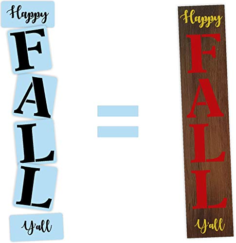 Happy Fall Y'all Porch Stencil Kit, Reusable & Sturdy, Paint Your Own Wood Sign
