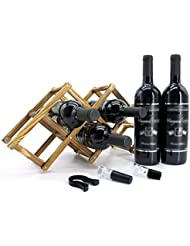 Folding Wooden Wine Rack, 6-Bottle (Comes with Wine Vacuum Stopper & Wine Aerator Pourer & Wine Foil Cutter)