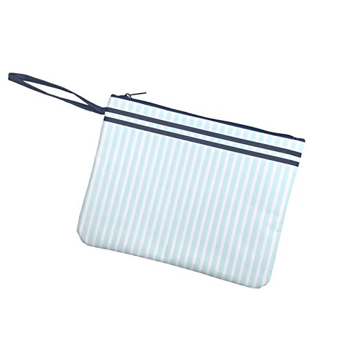 Striped Navy Blue 12 x 9 Inch Polyester Lined Wet Dry Bag