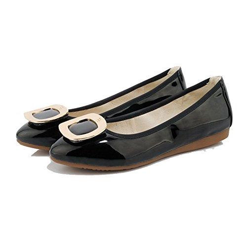 VogueZone009 Damen Lackleder Rund Zehe Ohne Absatz Ziehen auf Rein Flache Schuhe Schwarz