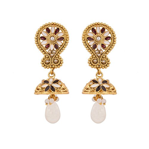 Rajwada Arts Women's Brass And Stones Floral Dangle Earrings White,Red