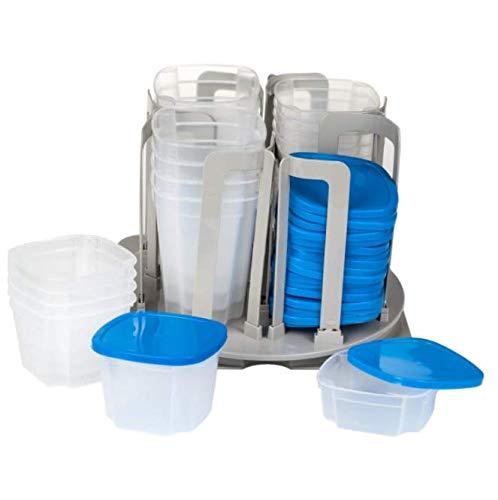 (BEW New Compact 24 Bowls/Cups Swirl Around 49 Pc Storage Container Set 11 x 11 - RK84)