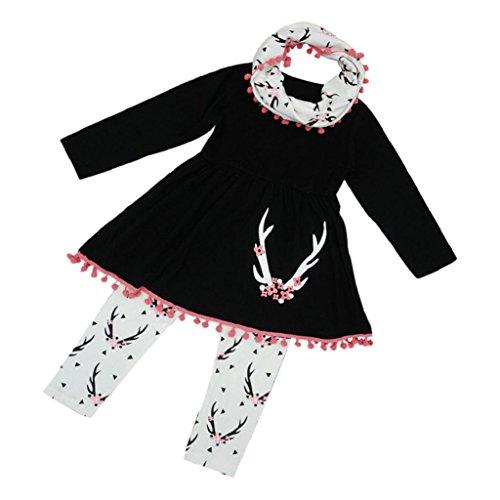 Seersucker Crop Pants - 3PCS Winter Kids Outfits Set Girls Wildlife Tunic Dress Pants Scarf Hosamtel (100)