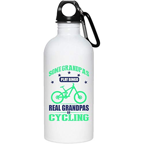 Some Grandpas Play Bingo Real Grandpas Go Cycling 20 oz Stainless Steel Bottle,Go Cycling Mug, Cool Grandpas Outdoor Sports Water Bottle (Stainless Steel Water Bottle - White)