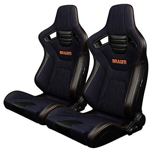 BRAUM - Pair of Navy Denim ELITE-X Series Racing Seats With Leatherette Inserts and Orange Stitching (BRR1X-NDOS) ()