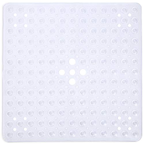 Mat Shower Stall (SUDAGEN Square Shower Mat Non Slip Bath Mat with Drain Hole Machine Washable for Shower Stalls 21 x 21 Inch (Transparent Clear))