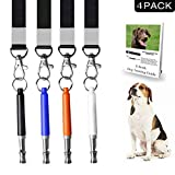 4 Pack Dog Whistle in 4 Colors - Professional Dog Training Whistle to Stop Barking -Adjustable Frequency Ultrasonic Sound Training Tool - Adjustable Pitch - Free Premium Quality Lanyard