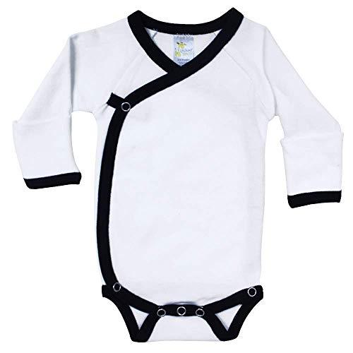 (Newborn Baby Ringer Kimono Side-Snap Romper Onesie Bodysuit with Mitten Cuffs White/Black)