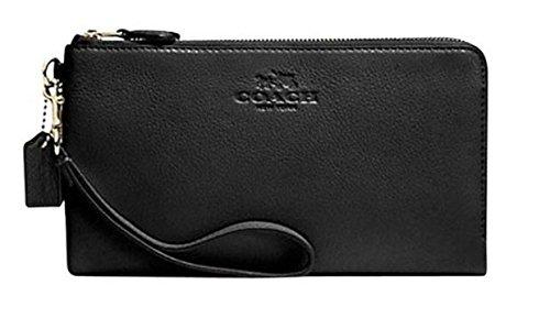 Coach Pebbled Leather Double Zip Wallet Wristlet Black 54056 by Coach