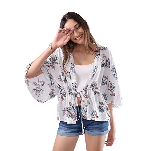 MissShorthair Womens Loose Kimono Blouse Floral Print Cardigan Short Tops (22White, XXL/XXXL)