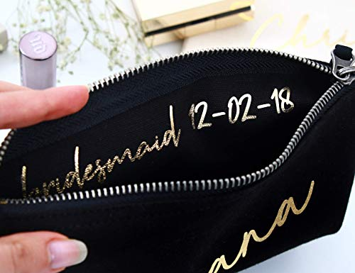 Bridesmaid Makeup Bag Canvas Organizer Portable Large Cosmetic Pouch Travel Bag Personalized Cosmetic Bags for Bridesmaids, Maid of Honor Gift, Bridal Party Make up Bags]()