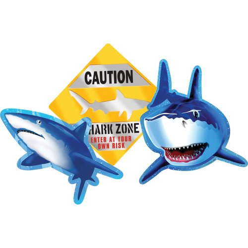 Creative Converting 990887 Shark Splash 3 Count Cutout Party Decorations