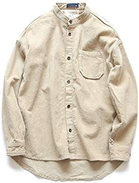 RSL Cuello de Pana Informal Camisa de Color sólido Delgado de la Camisa Marea jóvenes de Corea del Original de Primavera y otoño los Hombres japoneses (Color : Brown, Size : L):