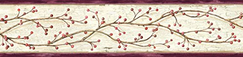 Berries Wallpaper (Chesapeake PUR44614B Florence Rose Winterberry Branch Trail Wallpaper Border)