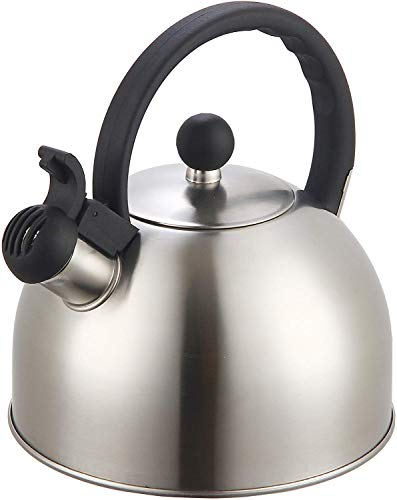 2 Liter Stainless Steel Whistling Tea Kettle - Modern Stainless Steel Whistling Tea Pot for Stovetop with Cool Grip Ergonomic Handle (Stainless Steel)