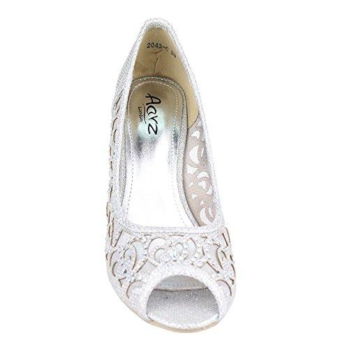 Aarz Boda Prom Mujeres del partido de tarde de las señoras de tacón peep toe Diamante sandalia de los zapatos Tamaño (Oro, Plata, Champagne, Negro, Marrón) Plata
